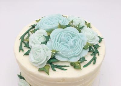 Blue Buttercream Floral Cake | 3 Sweet Girls Cakery