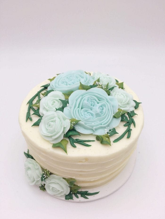 Blue Buttercream Floral Cake | 3 Sweet Girls Cakery