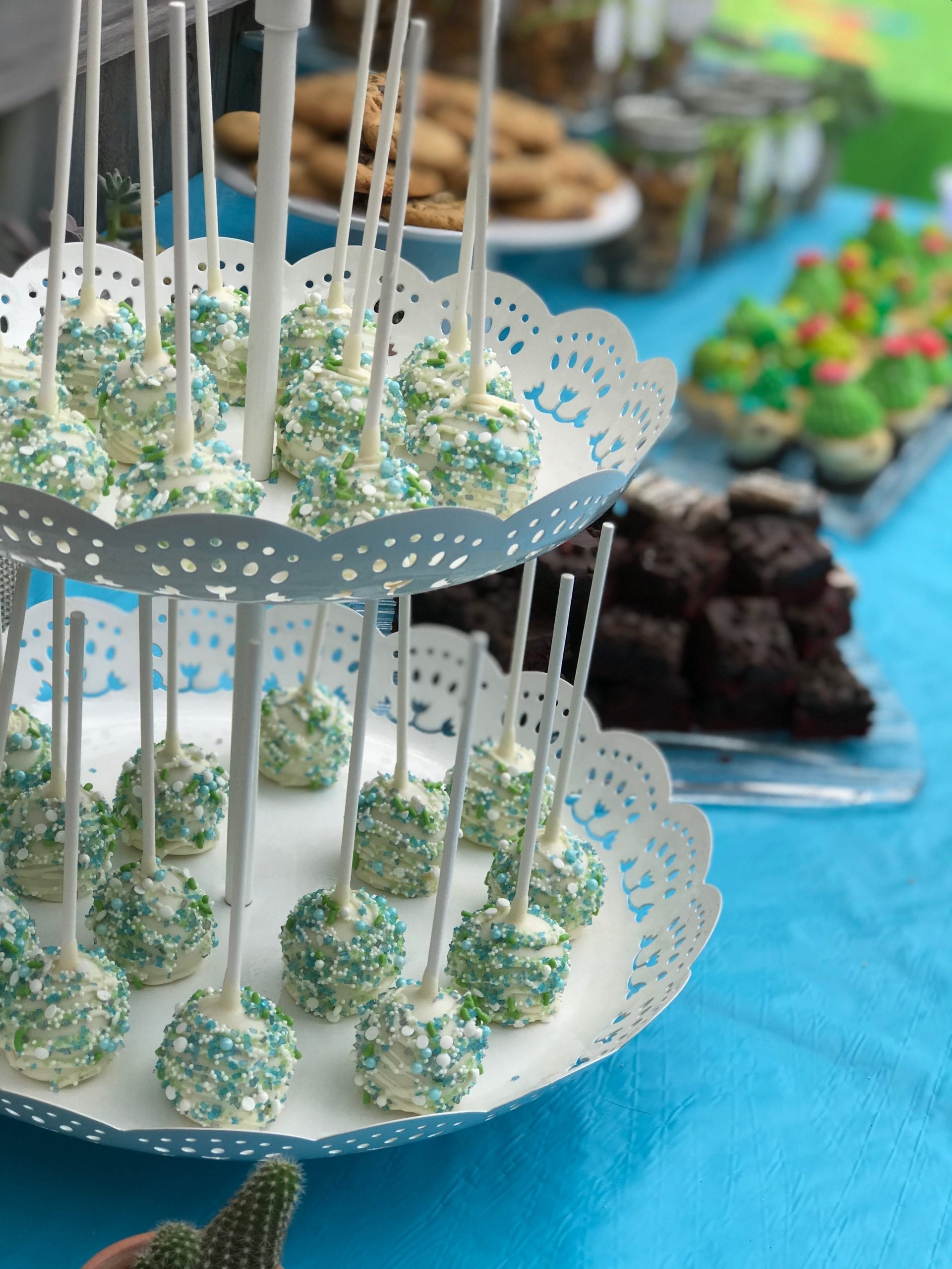 Blue, Green and White Cake Pops   3 Sweet Girls Cakery