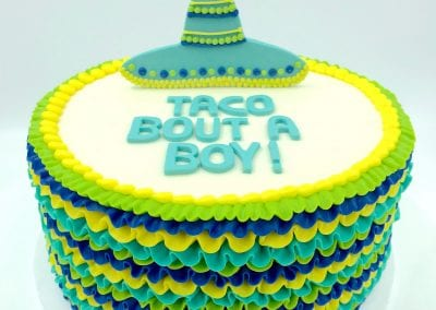 Blue, Green and Yellow Taco Bout a Boy Baby Shower Cake