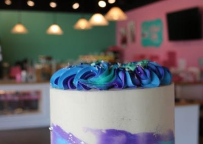 Blue, Purple and Green Water Color Sprinkle Cake | 3 Sweet Girls Cakery