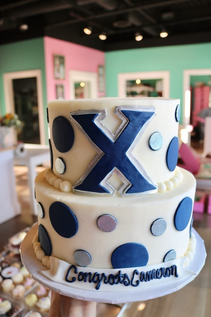 Blue, Silver and WHite 2 Tier Graduation Cake | 3 Sweet Girls Cakery