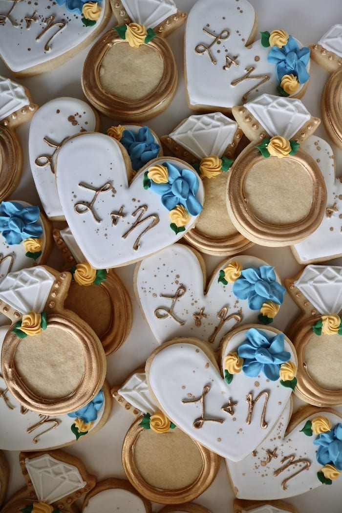 Blue, Yellow and Gold Engagement Cookies   3 Sweet Girls Cakery