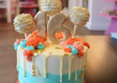 Blue and Coral Drip Cake with Cake Pops | 3 Sweet Girls Cakery