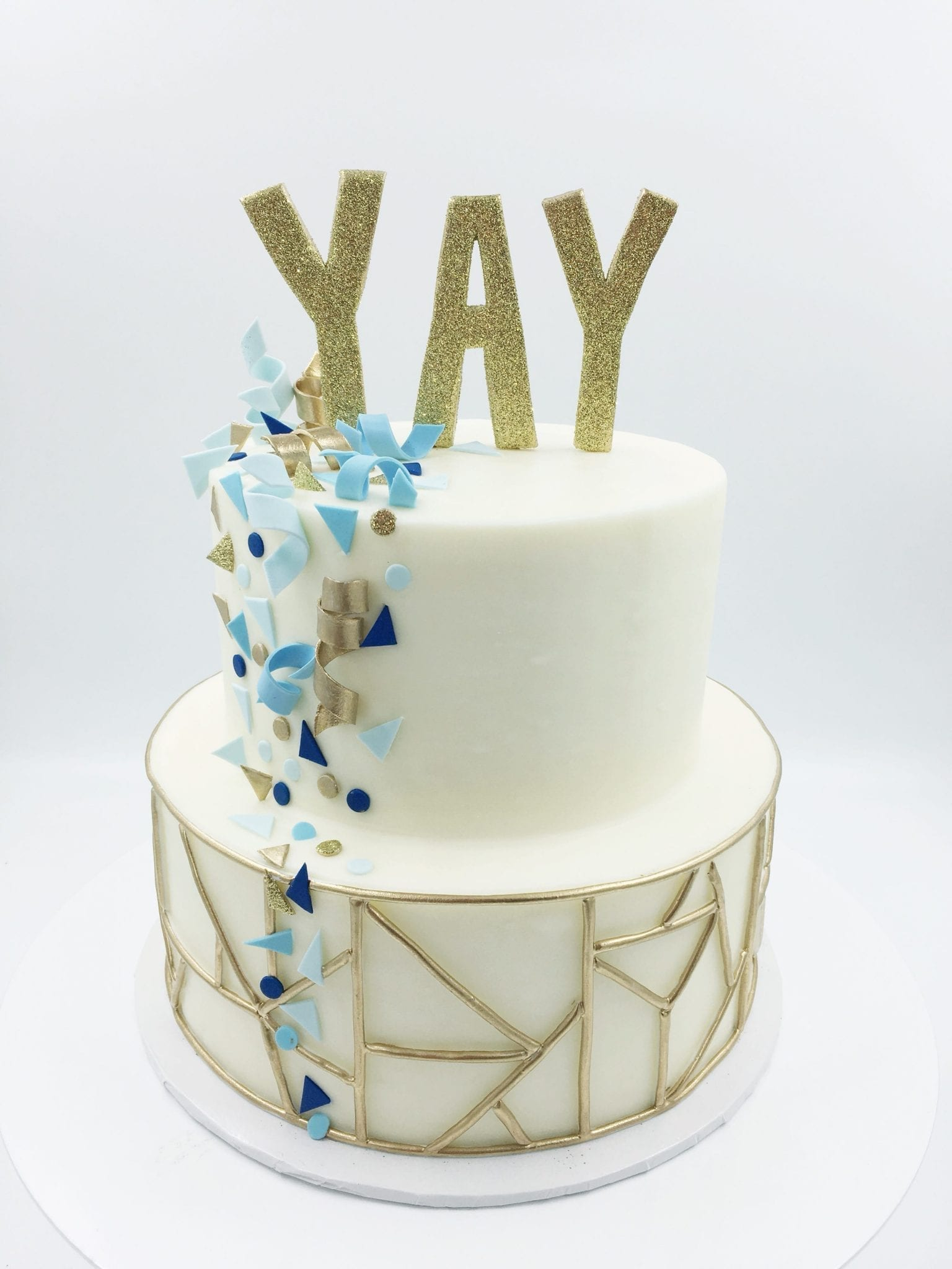 Blue and Gold 2 Tier Yay Cake | 3 Sweet Girls Cakery
