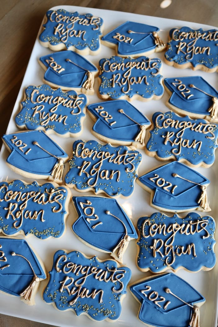 Blue and Gold Graduation Cookies | 3 Sweet Girls Cakery