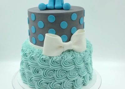 Blue and Grey 2 Tier Elephant Baby Shower Cake | 3 Sweet Girls Cakery