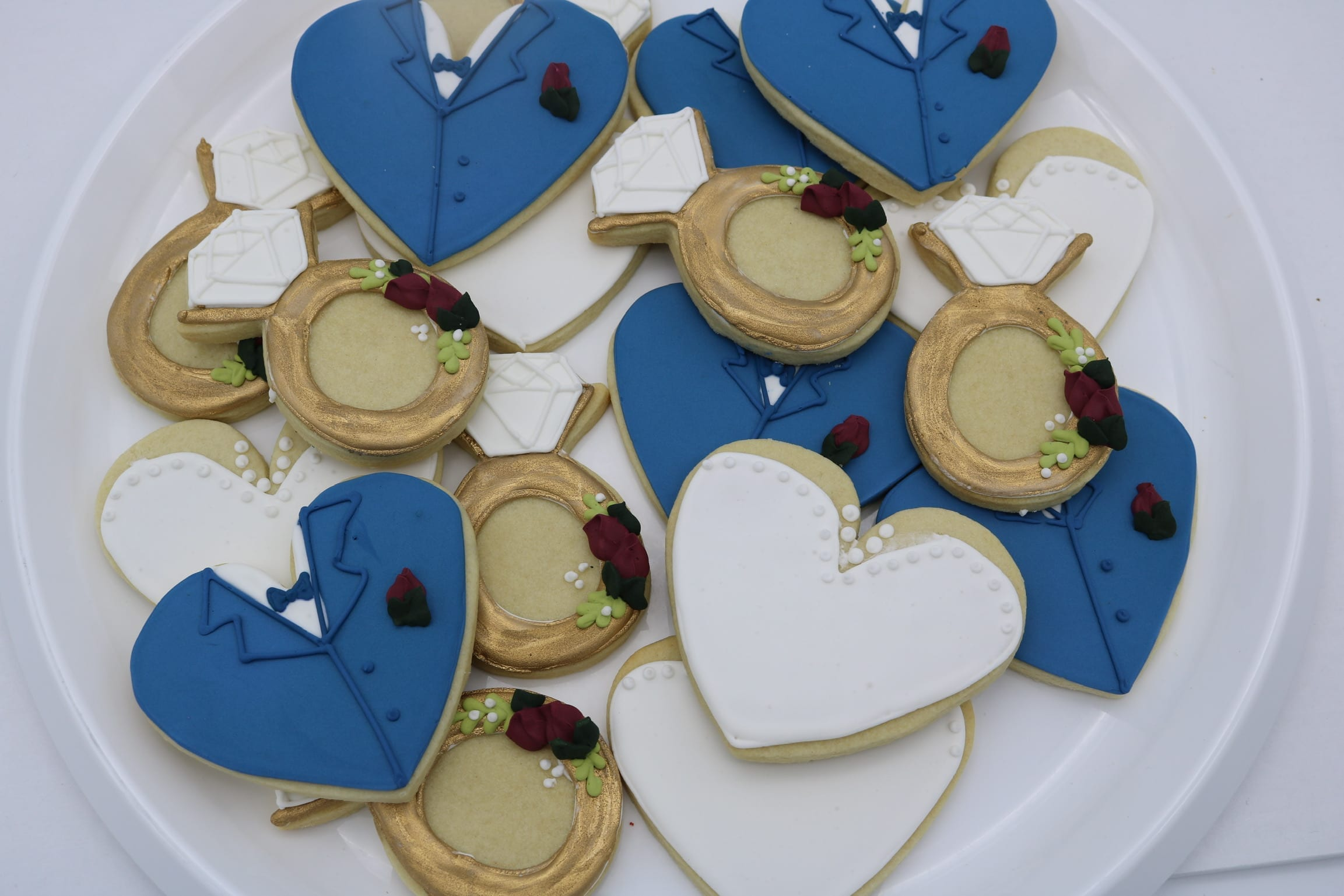 Blue and Red Wedding Cookies   3 Sweet Girls Cakery