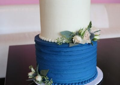 Blue and White 2 Tier Wedding Cake with Fresh Flowers | 3 Sweet Girls Cakery
