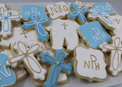 Blue and White Baptisim Cookies | 3 Sweet Girls Cakery