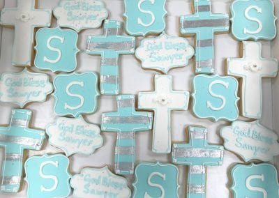 Blue and White Baptism Cookies | 3 Sweet Girls Cakery