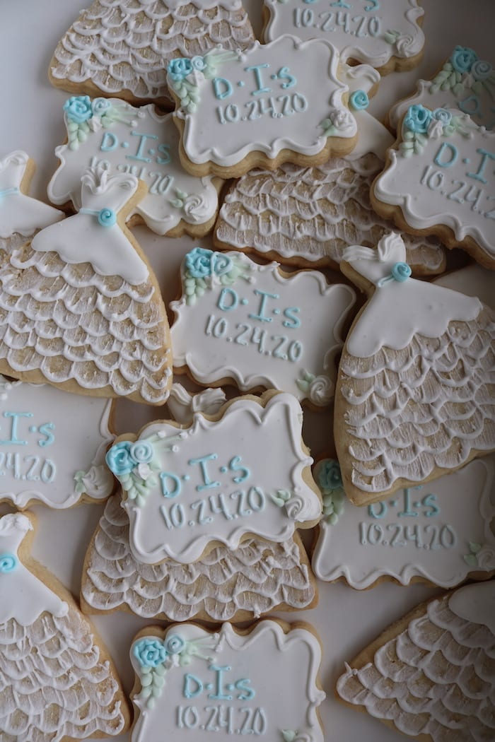 Blue and White Bridal Shower Cookies | 3 Sweet Girls Cakery