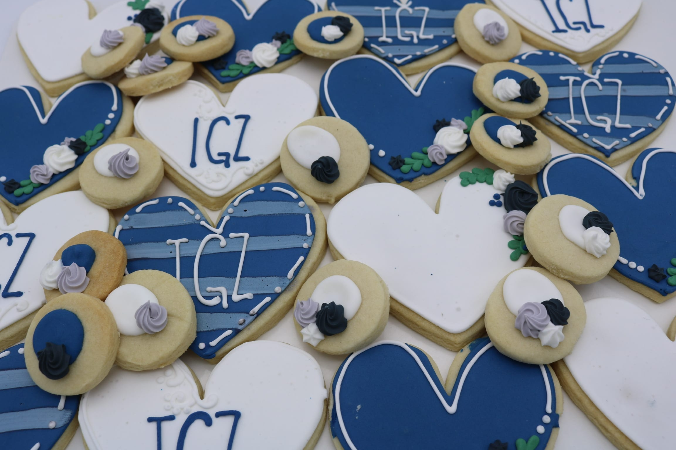 Blue and White Heart Wedding Cookies | 3 Sweet Girls Cakery