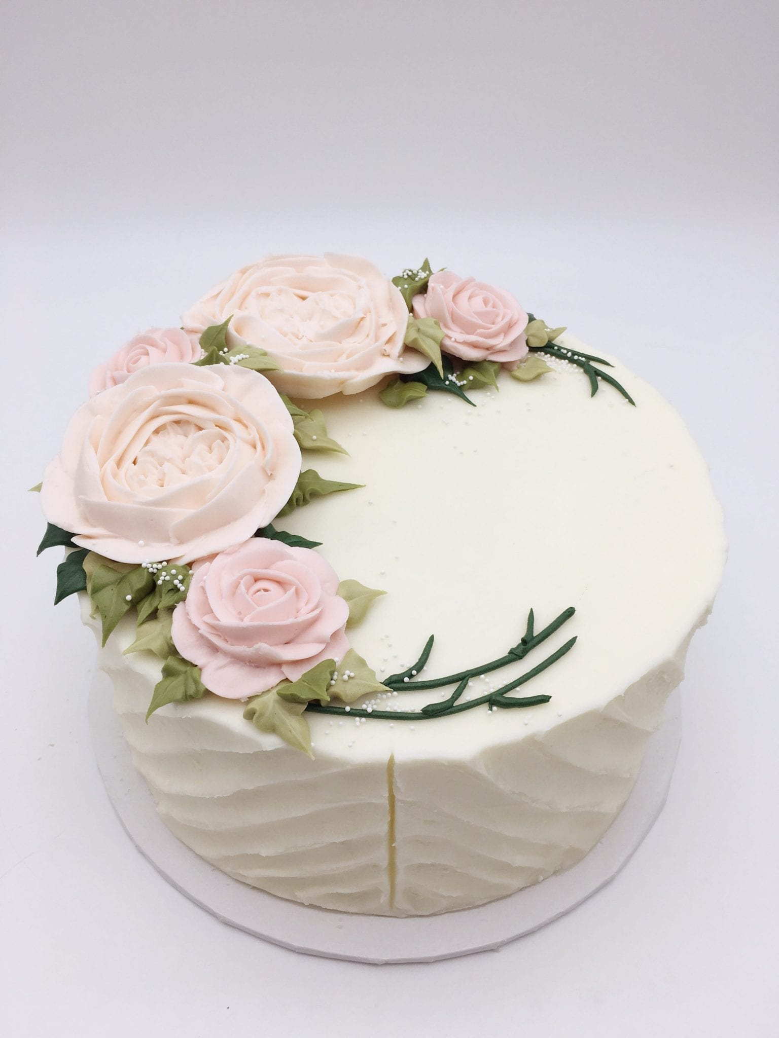 Blush Buttercream Flower Cake | 3 Sweet Girls Cakery