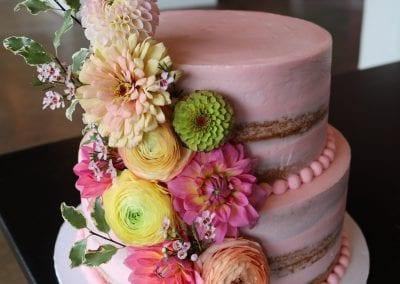 Blush Pink Naked Cake with Colorful Fresh Flowers | 3 Sweet Girls Cakery