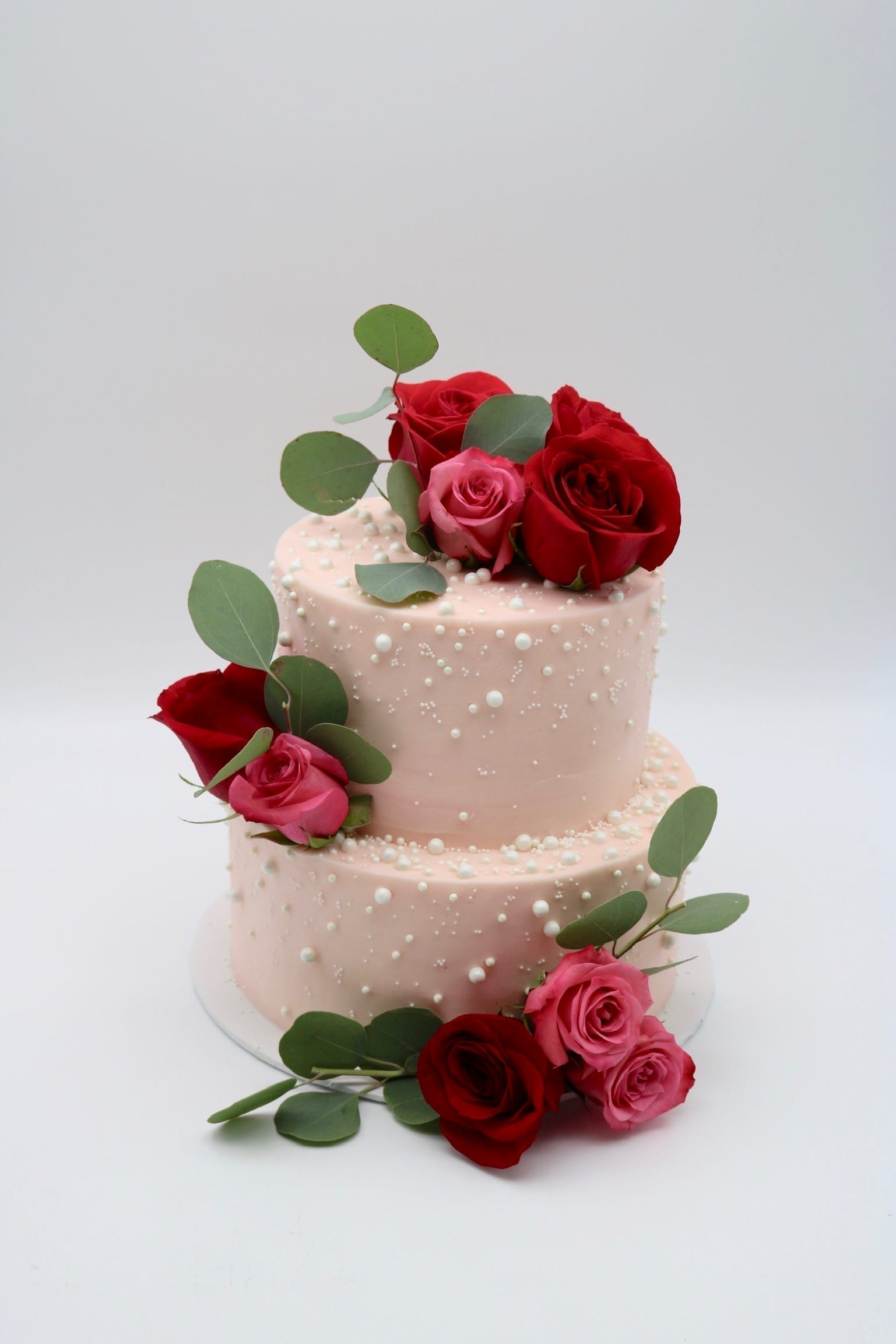 Blush Wedding Cake with WHite Pearls | 3 Sweet Girls Cakery