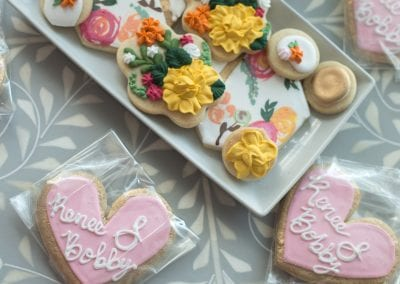 Blush, White and Gold Wedding Favor Cookies | 3 Sweet Girls Cakery