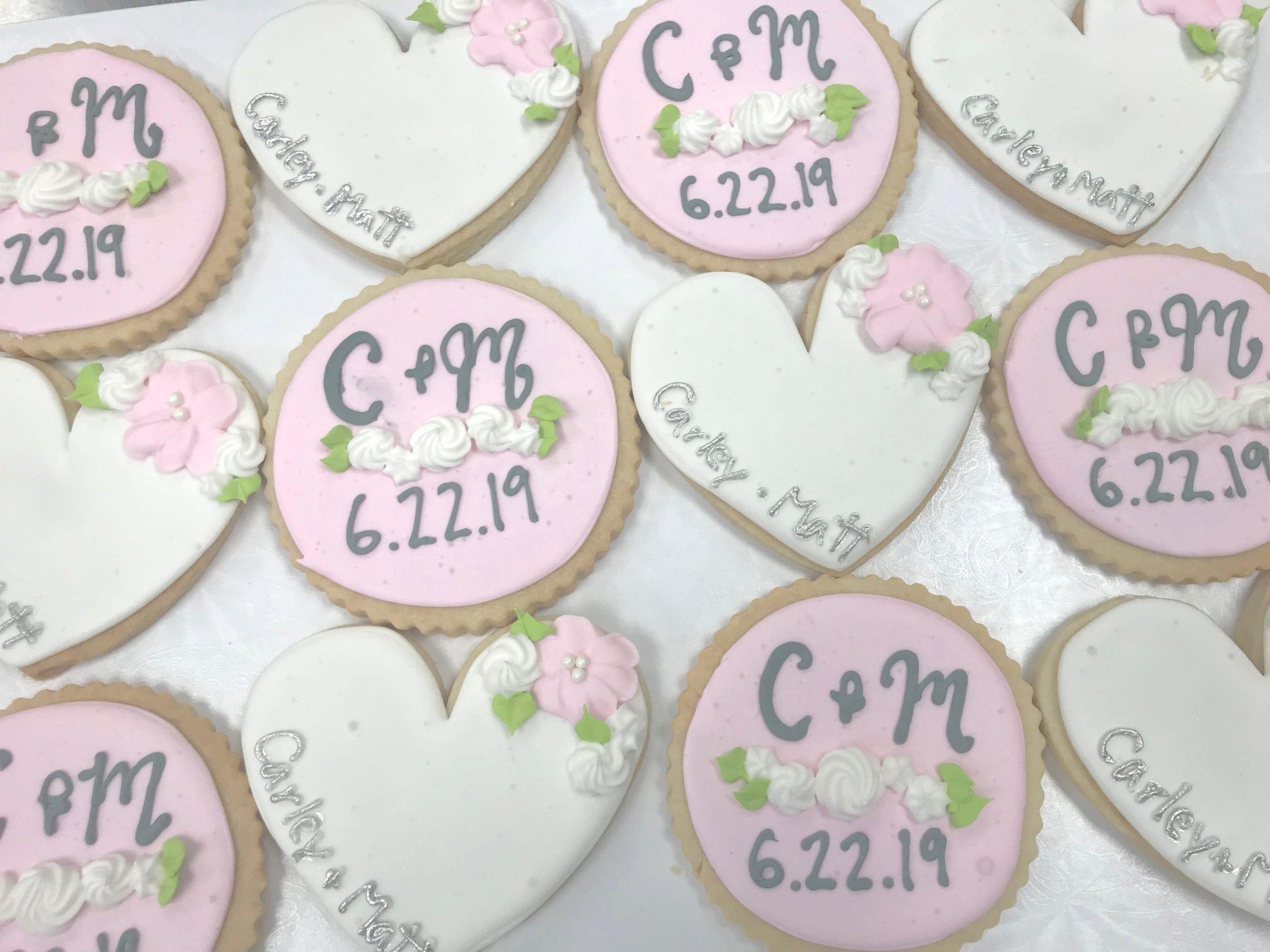 Blush, White and Silver Monogram Wedding Cookies   3 Sweet Girls Cakery