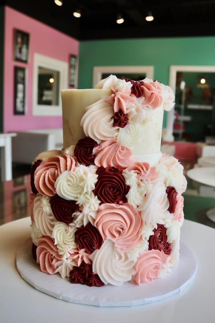 Blush and Burgandy Rosette Cake 2 Tier | 3 Sweet Girls Cakery