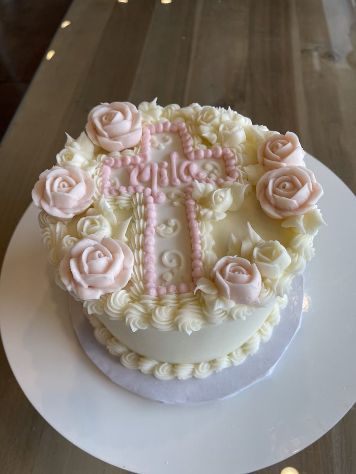 Blush and Cream Baptism Cake with Roses   3 Sweet Girls Cakery