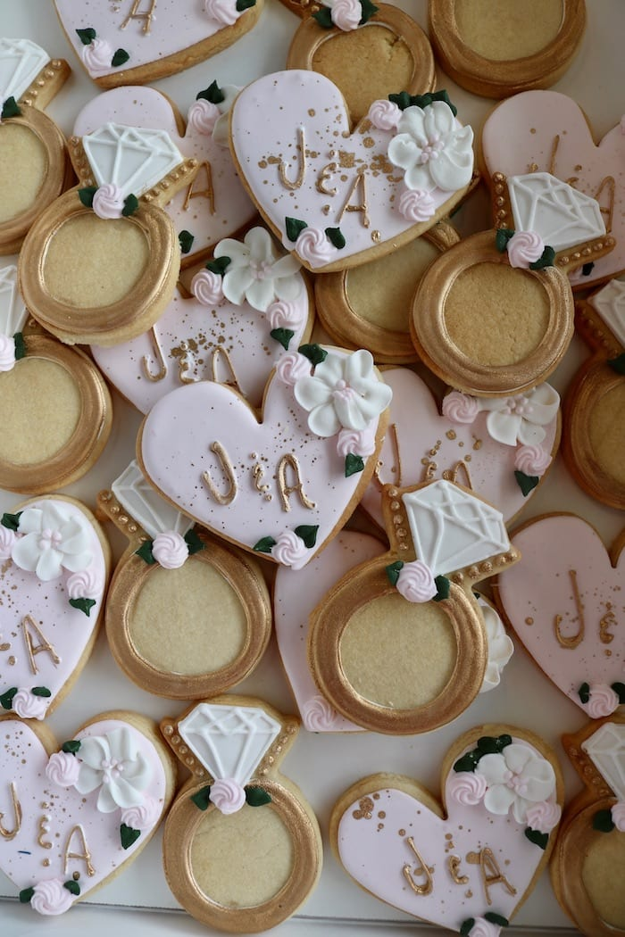 Blush and Gold Heart and Engagement Ring Cookies | 3 Sweet Girls Cakery