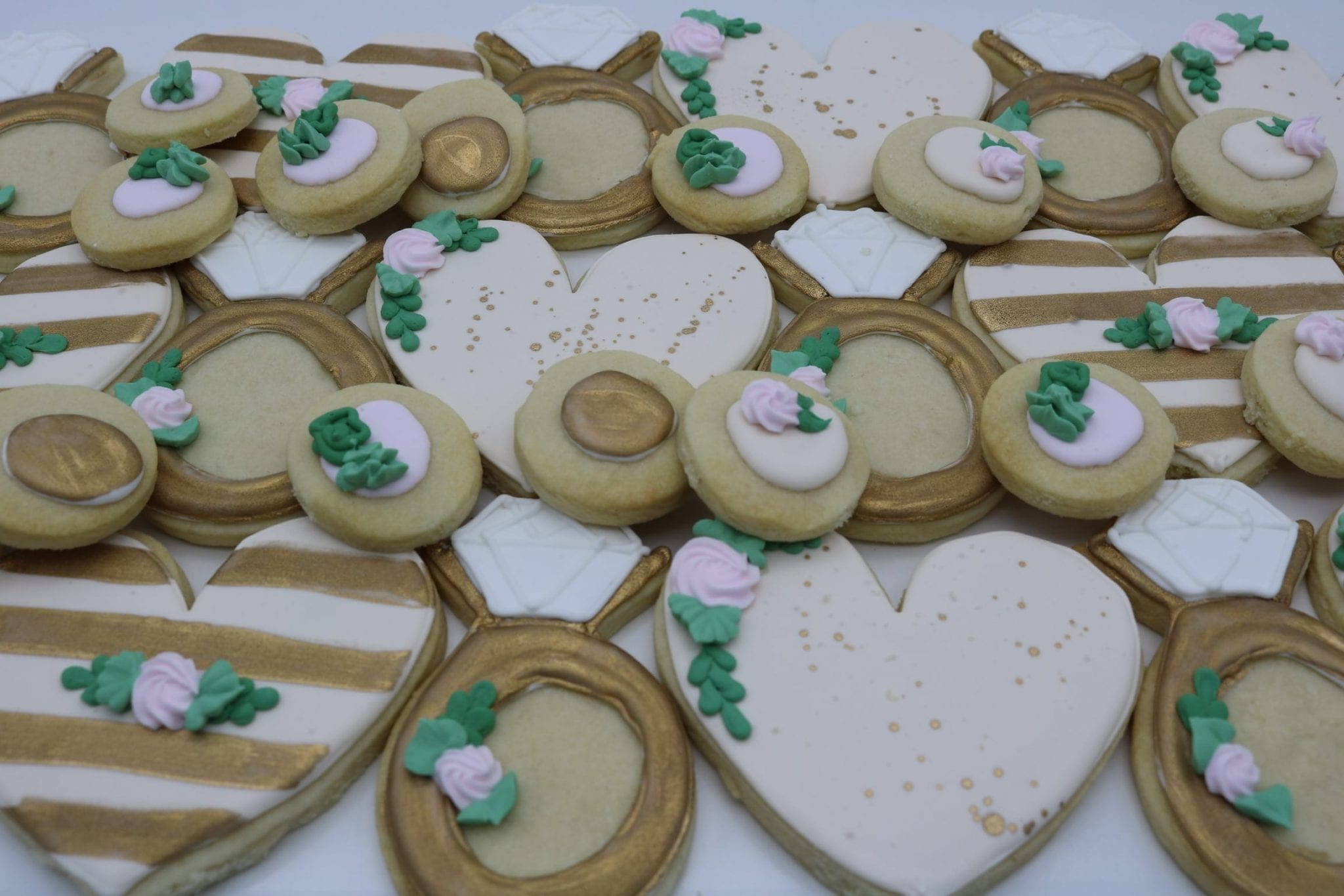 Blush and Gold Heart and Ring Wedding Shower Cookies | 3 Sweet Girls Cakery