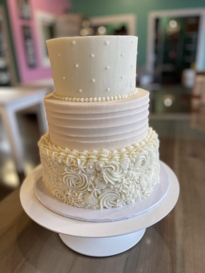 Blush and WHite 3 Tier Wedding Cake | 3 Sweet Girls Cakery