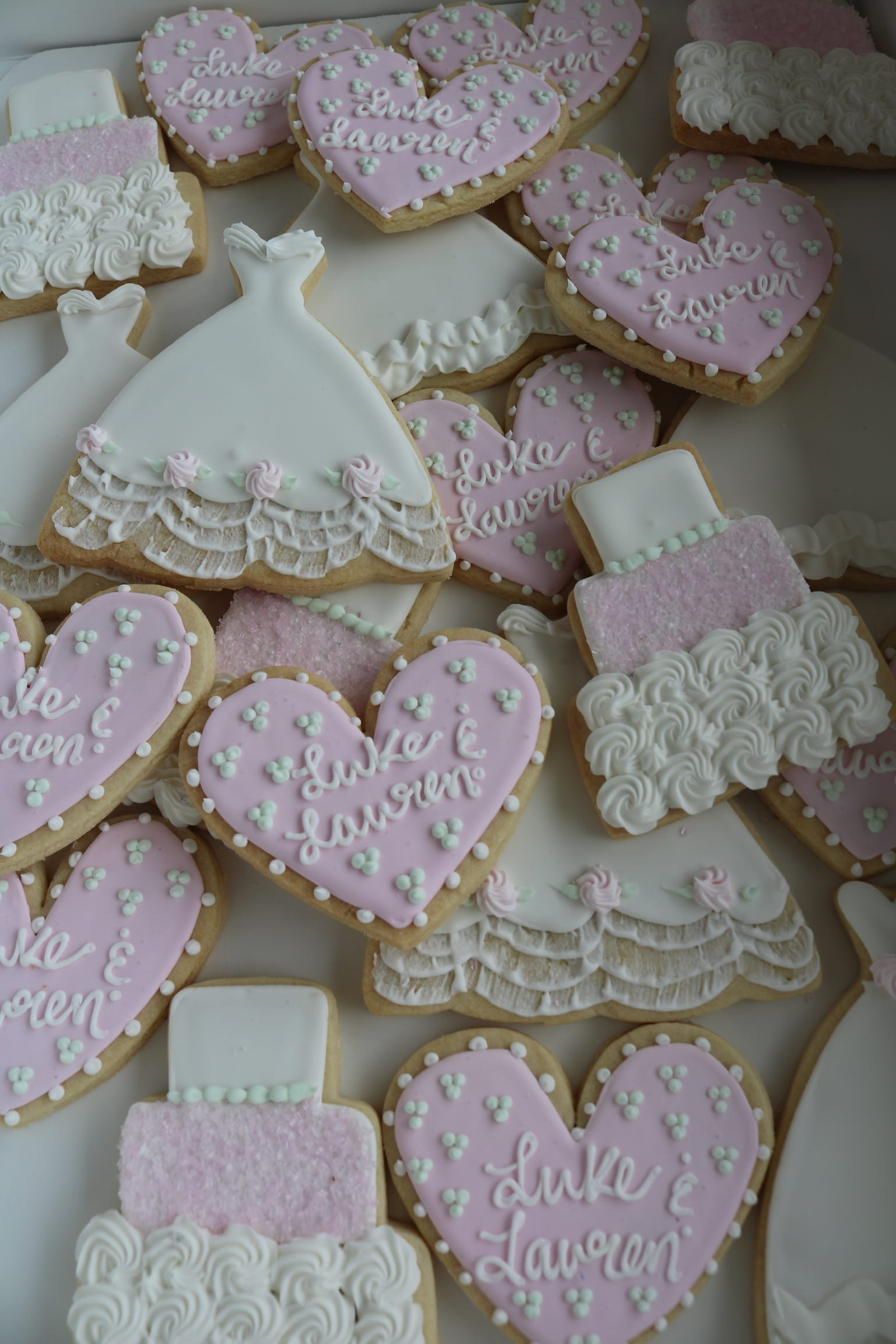 Blush and White Bridal Shower Cookies | 3 Sweet Girls Cakery