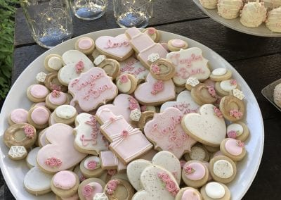 Blush and White Wedding Cookie Platter | 3 Sweet Girls Cakery