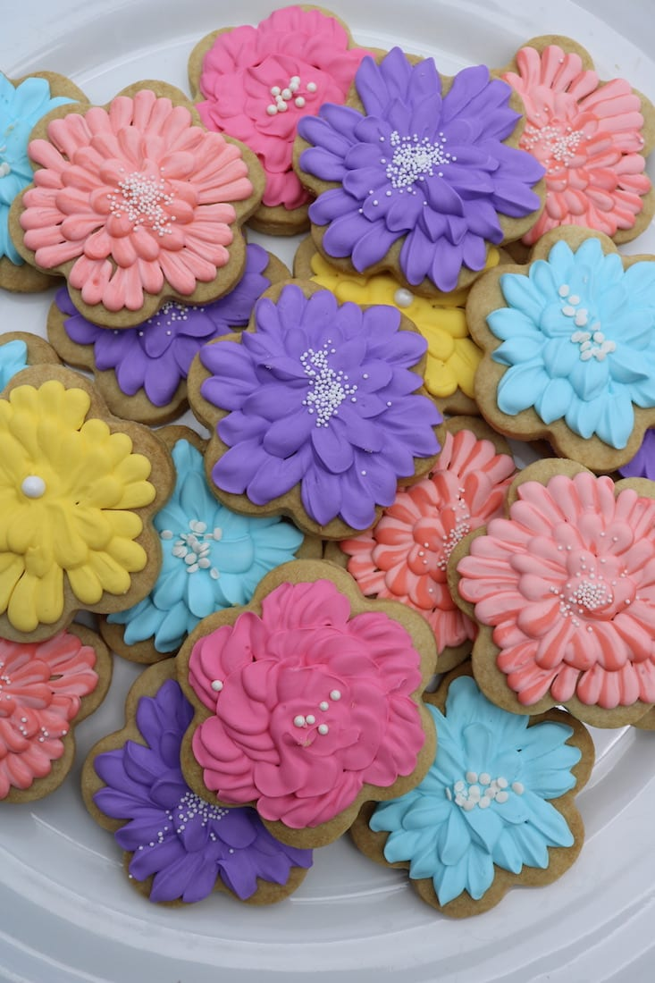 Bright Color Flower Cookies | 3 Sweet Girls Cakery