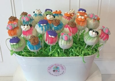 Bright Color Safari Zoo Animal Cake Pops | 3 Sweet Girls Cakery
