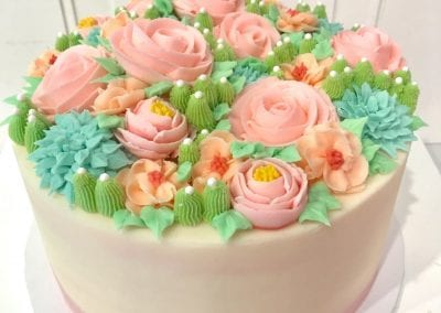 Buttercream Flower and Succulent Cake | 3 Sweet Girls Cakery