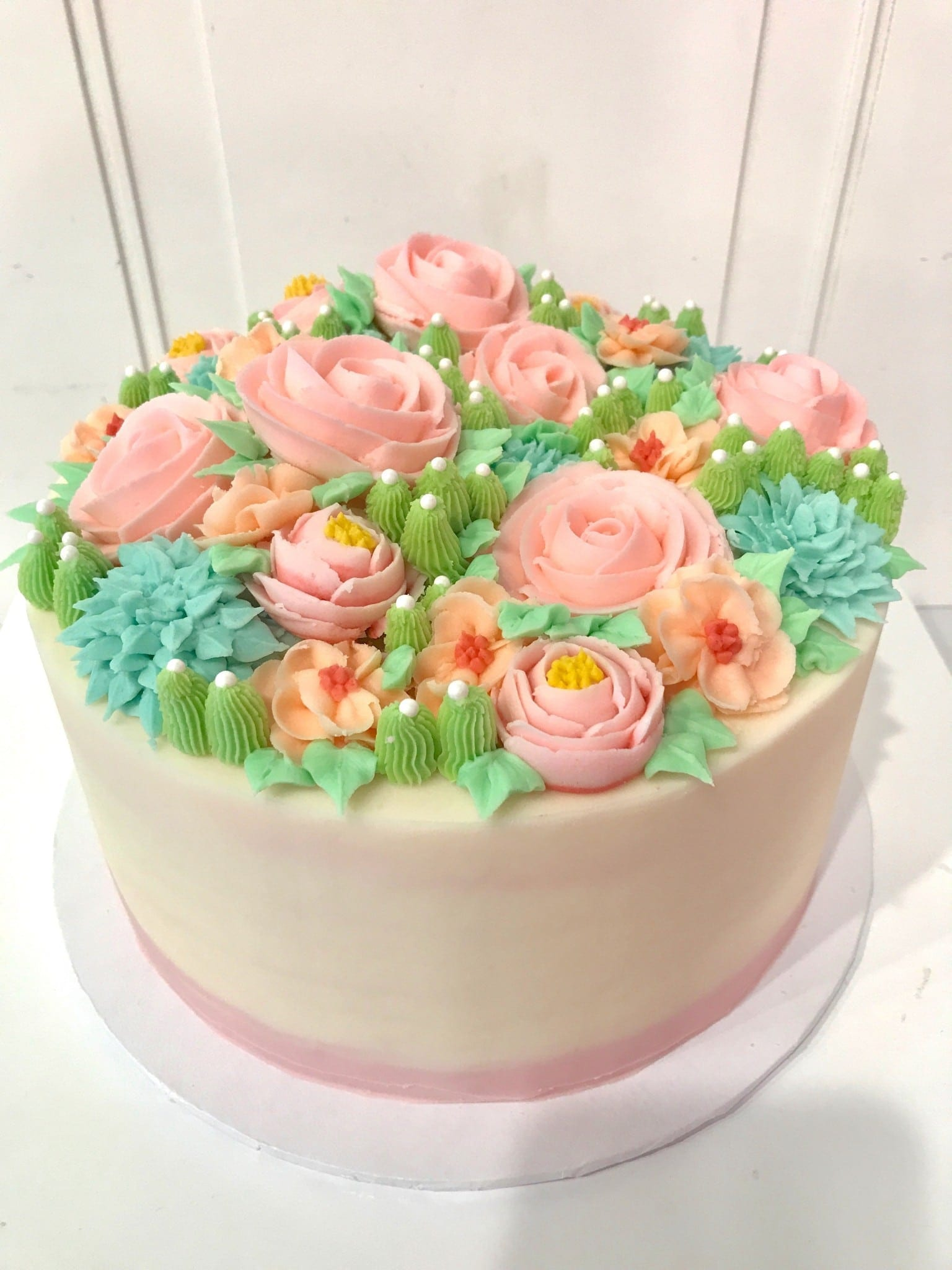 Buttercream Flower and Succulent Cake | 3 Sweet Girls Cakery