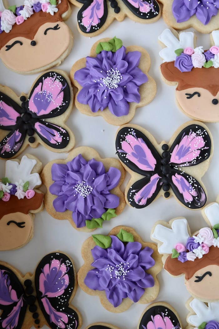 Butterfly, Deer and Flower Cookies in Shades of Purple | 3 Sweet Girls Cakery