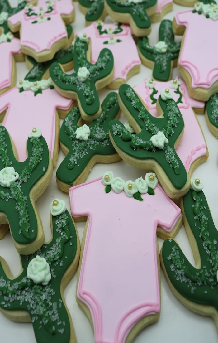 Cactus and Onesie Baby Shower Cookies | 3 Sweet Girls Cakery