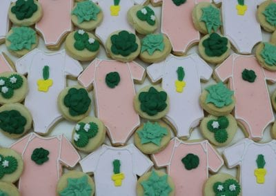 Cactus and Succulant Baby Shower Onesie Cookies | 3 Sweet Girls Cakery