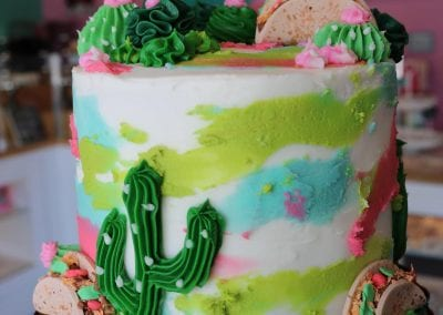 Cactus and Taco Watercolor Cake | 3 Sweet Girls Cakery