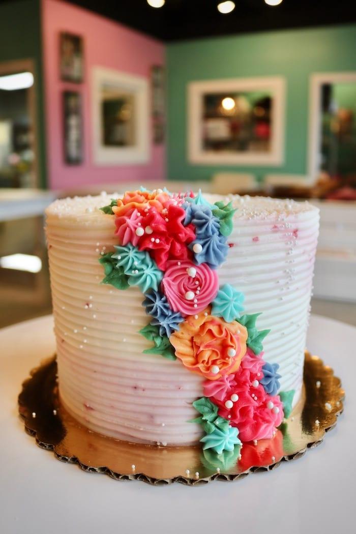 Cascading Rosette Cake   3 Sweet Girls Cakery