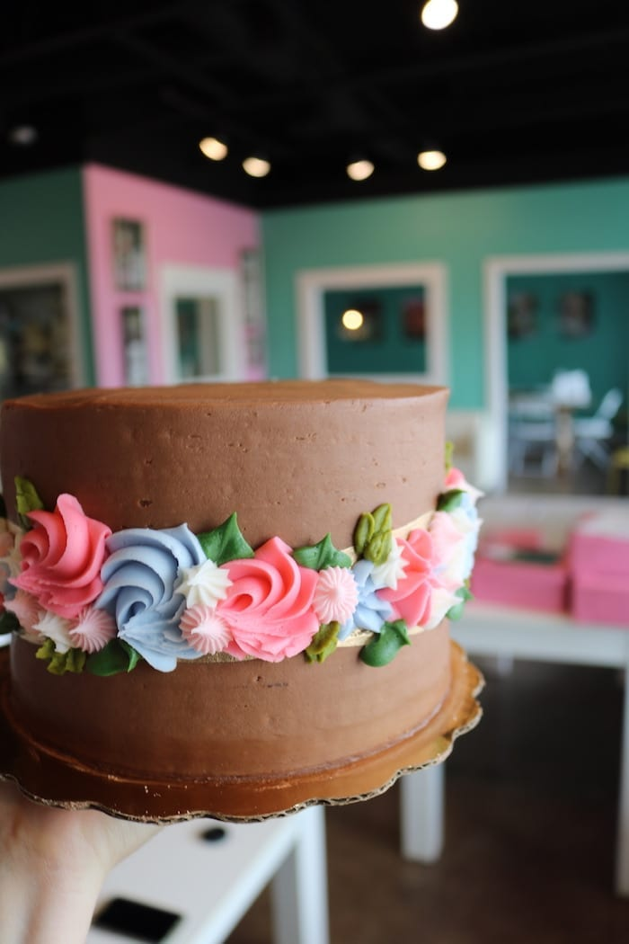 Chocolate Cake with Band of Flowers   3 Sweet Girls Cakery