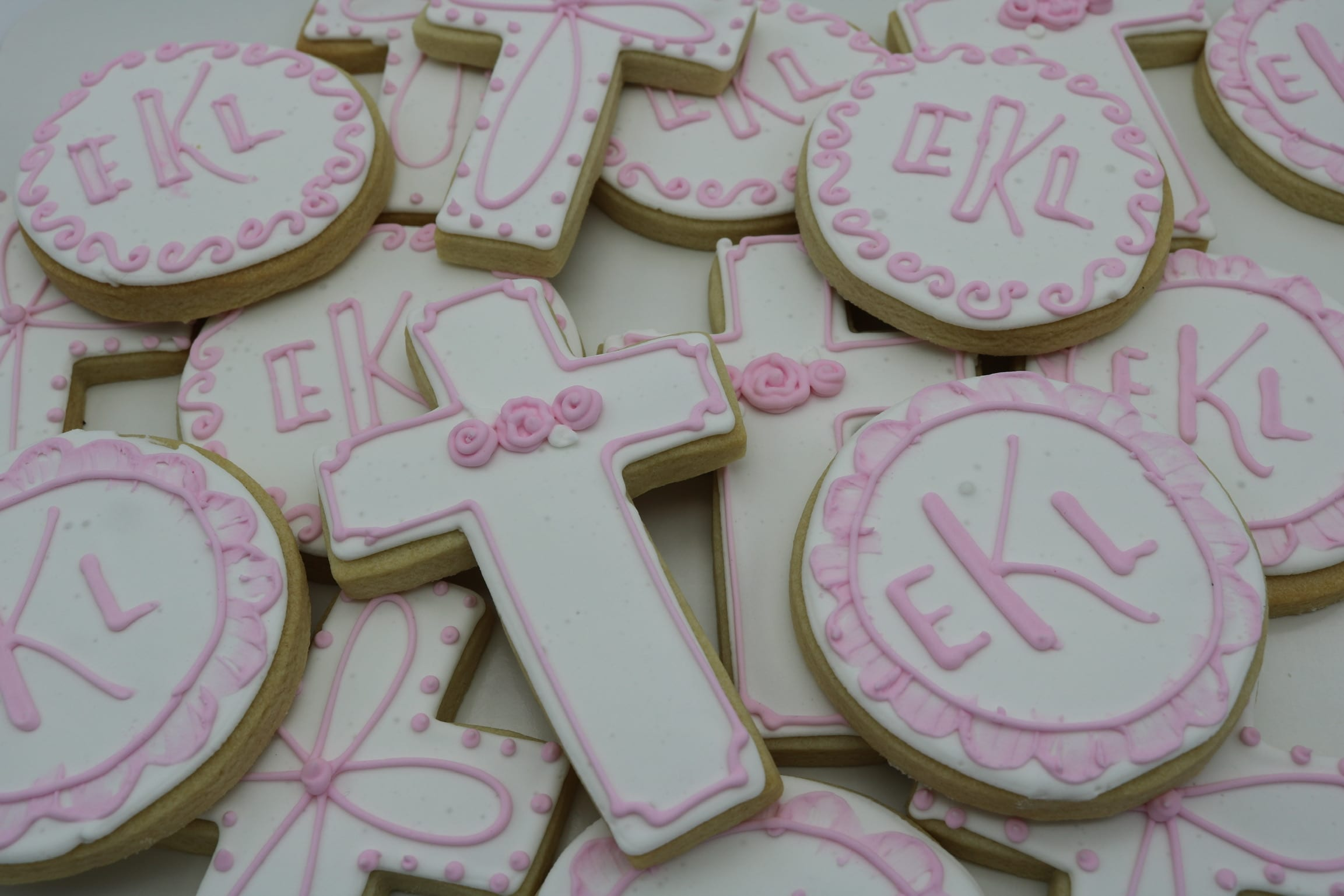 Christening Cookies with Cross Pink and WHite | 3 Sweet Girls Cakery