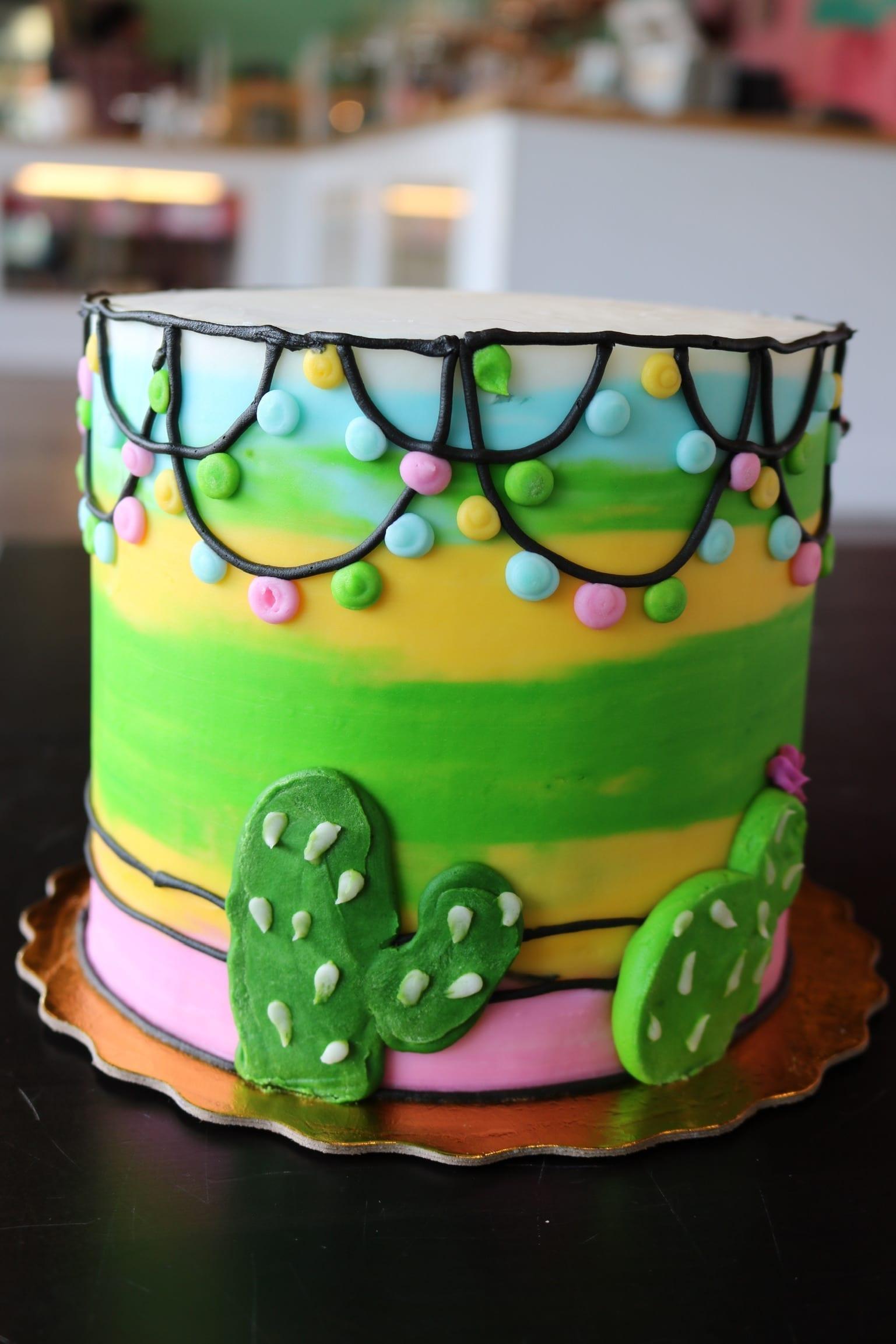Colorful Cactus Cake   3 Sweet Girls Cakery