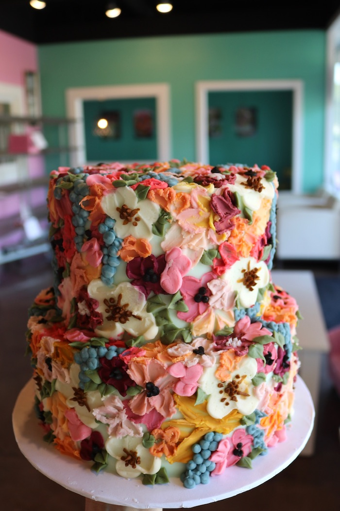 Colorful Textured Floral Buttercream Cake | 3 Sweet Girls Cakery
