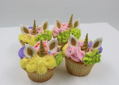 Colorful Textured Unicorn Cupcakes with Horns and Ears | 3 Sweet Girls Cakery