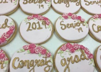 Congrats Senior Pink Rosette Grad Cookies | 3 Sweet Girls Cakery