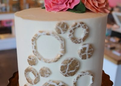 Crackled Gold Geometric Cake with Flowers| 3 Sweet Girls Cakery