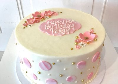 Delicate Pink and White Birthday Cake with Flowers and Polka Dots | 3 Sweet Girls Cakery