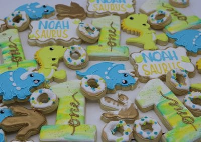 Dinosaur First Birthday Cookies | 3 Sweet Girls Cakery