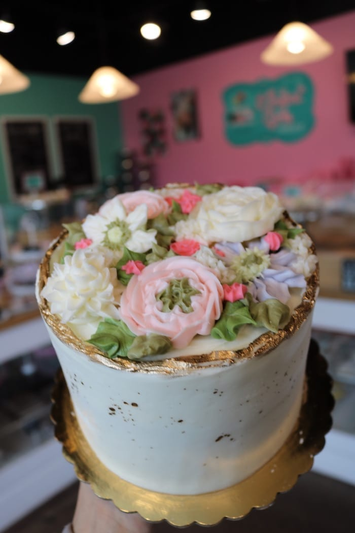 Elegant White Floral Cake with Gold Splatter   3 Sweet Girls Cakery