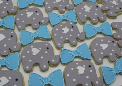 Elephant and Blue Bow Cookies | 3 Sweet Girls Cakery
