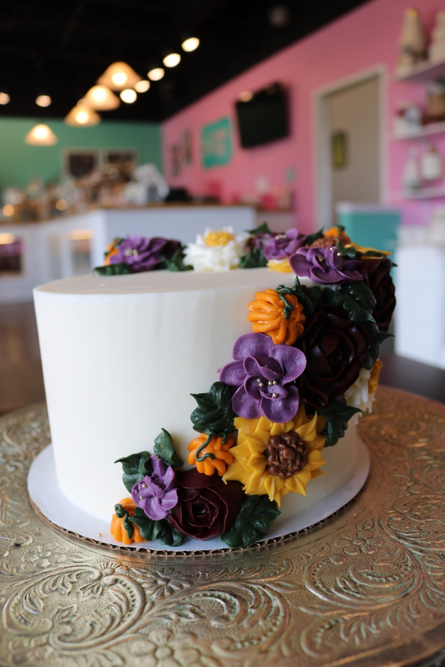 Fall Cake with Flowers | 3 Sweet Girls Cakery